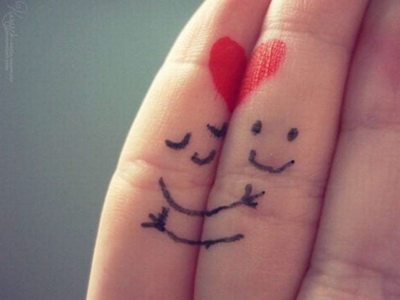 """two happy fingers """"hugging"""""""