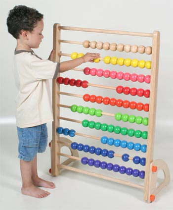 child with a giant abacus