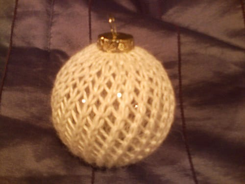 white knitted lace Christmas ornament cover