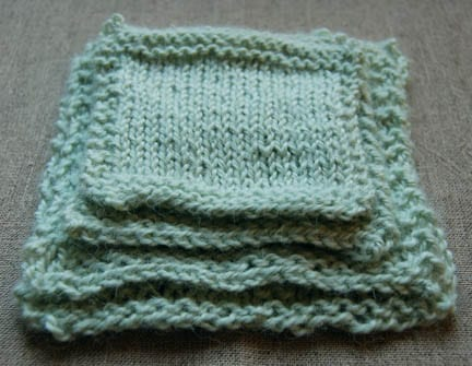 Swatches knitted by different people