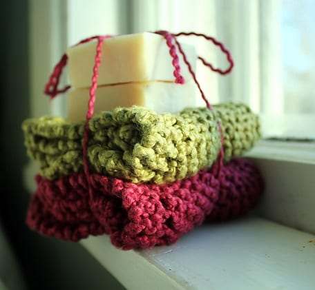 Knitted Dishcloth with Handmade Soap