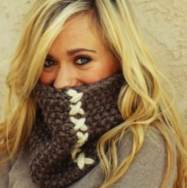 girl with a cowl with an obvious seam