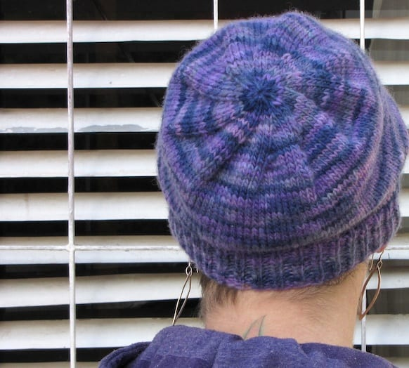 Back view of the Basic Magic Loop hat in purple