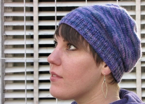 Side view of the Basic Magic Loop hat - slouchy version