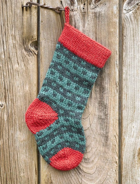 Red and Green Hemmed-Edge Knit Christmas Stocking