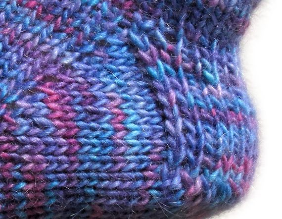 blue knit sock with slip stitch heel, worsted weight