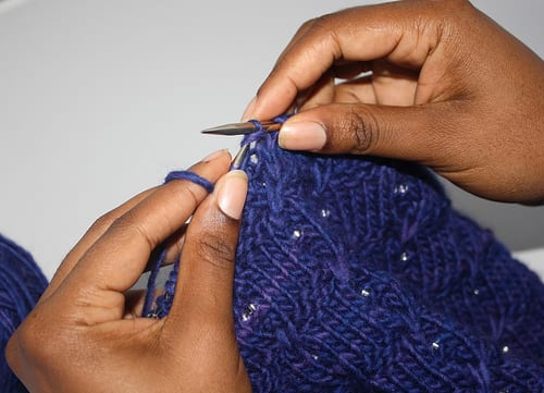 Beading with a crochet hook Step 1 - Work Stitch to be Beaded