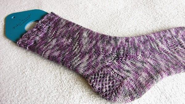 Purple sock blocking on FiberTrends Blocker