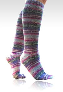 Pink Opal fingering weight socks for Magic Loop