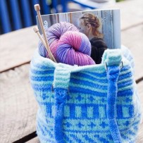Blue and green felted Fair-Isle bag, shown with yarn