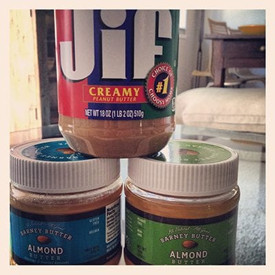 Jars of peanut and almond butter