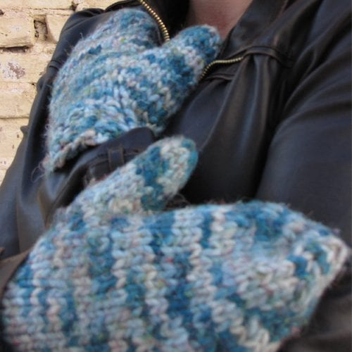 Chunky mittens with blue variegated yarn
