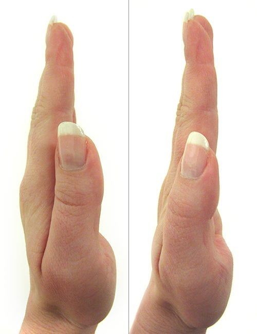 Closeup of thumb next to hand, shown from the side