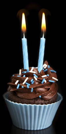 Cupcake with 2 candles
