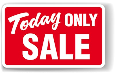 Today only sale sign