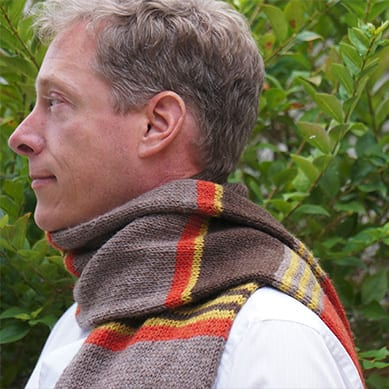 Red Scarf and Hat, shown in autumn colors