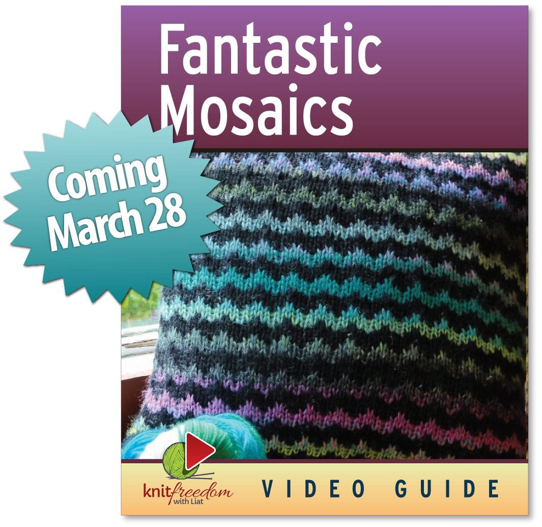 The cover of KnitFreedom's mosaic knitting video ebook