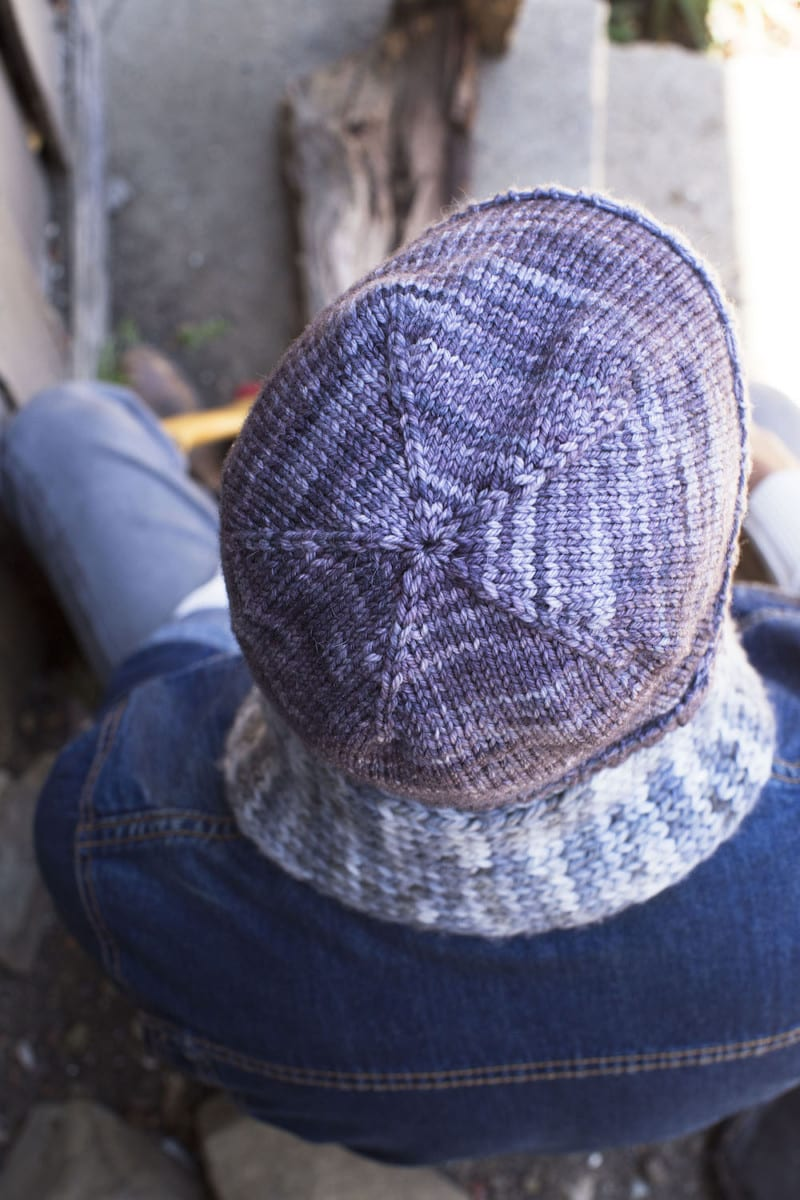 Top-down view of gray knit hat for men