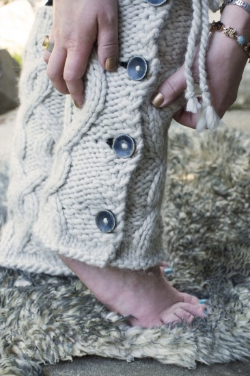 KnitFreedom's bulky cabled legwarmers with buttons