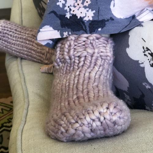 Jeny's Surprisingly Stretchy Bind-Off on Super-Bulky Pink Knit Socks