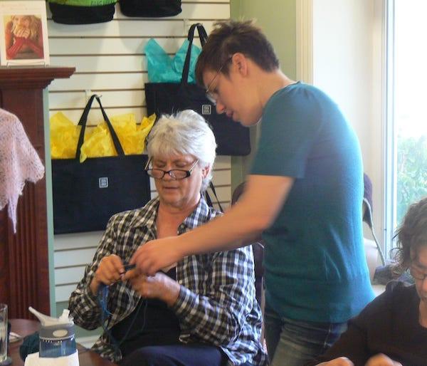 Liat teaching knitting at Blazing Needles in 2011