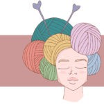 Woman with yarn balls on her head