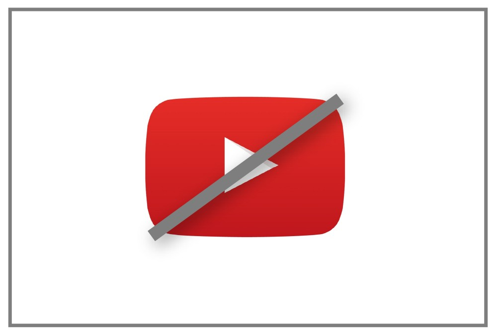 Red YouTube Video play button crossed out