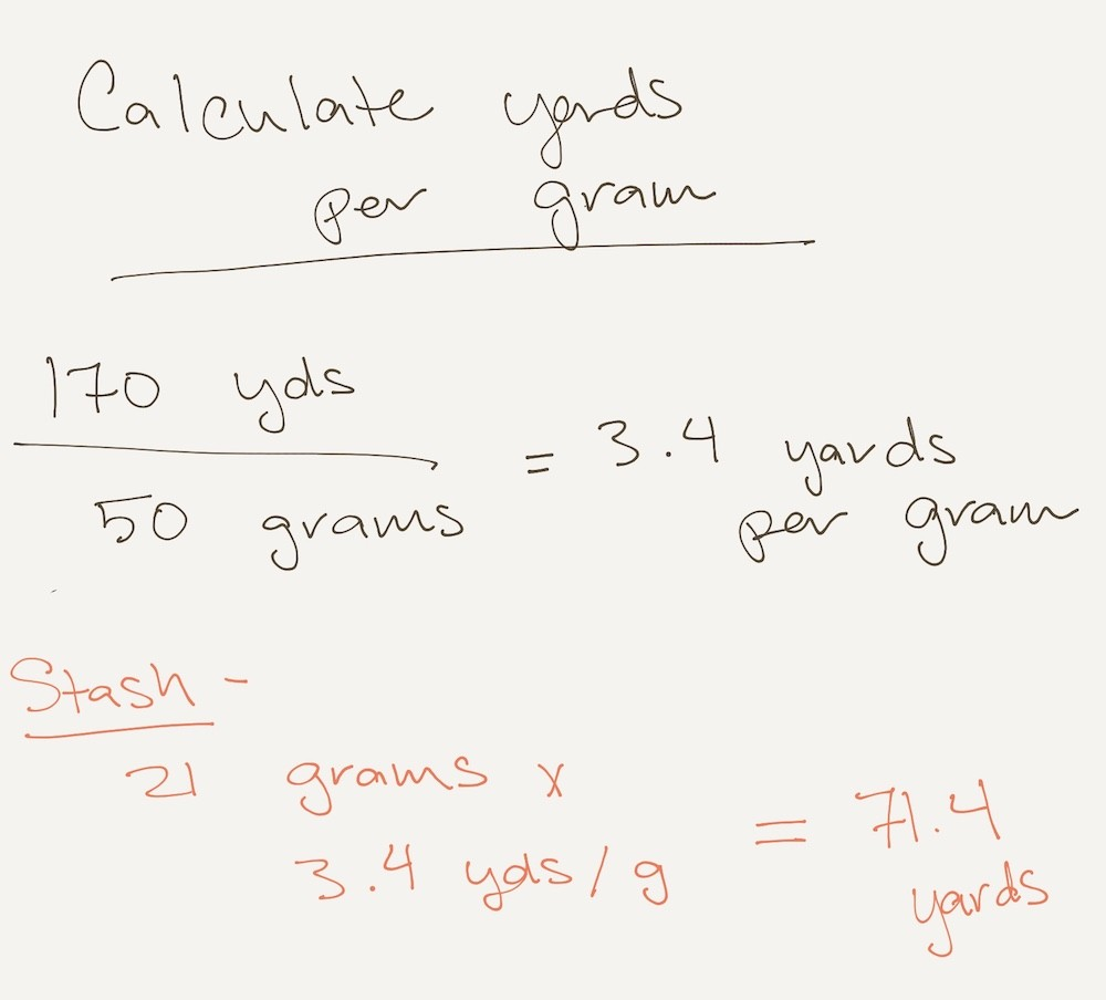 How to calculate yards per gram of yarn