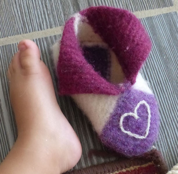 Felted Slippers and Tiny Foot