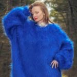 Giant fuzzy blue sweater lots of ease