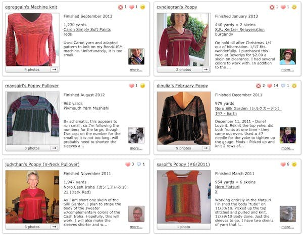 Display of Projects on Ravelry